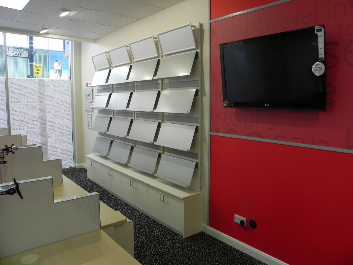 display wall in travel Agents manufactured by Aspen Concepts
