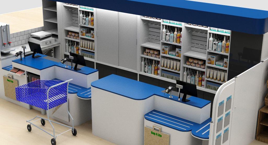 3D render of supermarket checkout desk and backline shelving