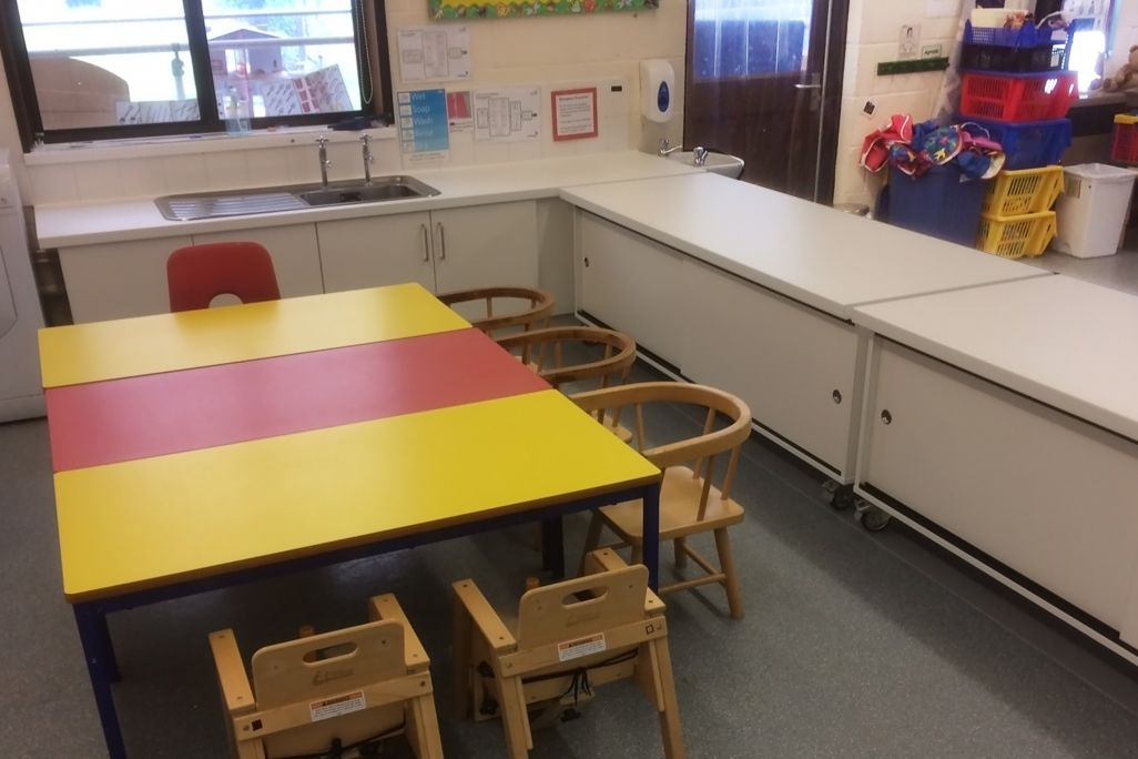 low kitchen units for primary school education classroom