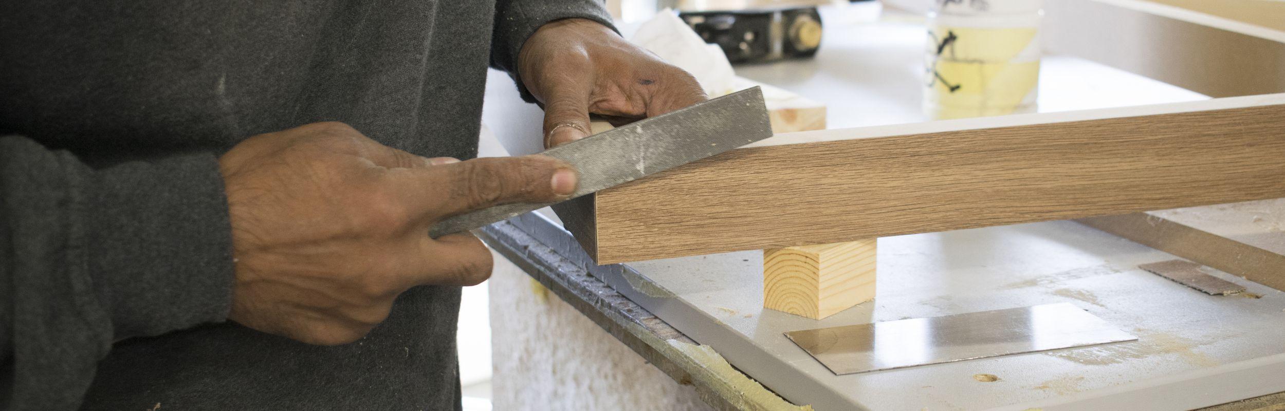 hand finishing wood bespoke joinery