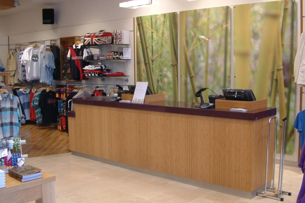 walking shop cash point till desk made by Aspen Concepts