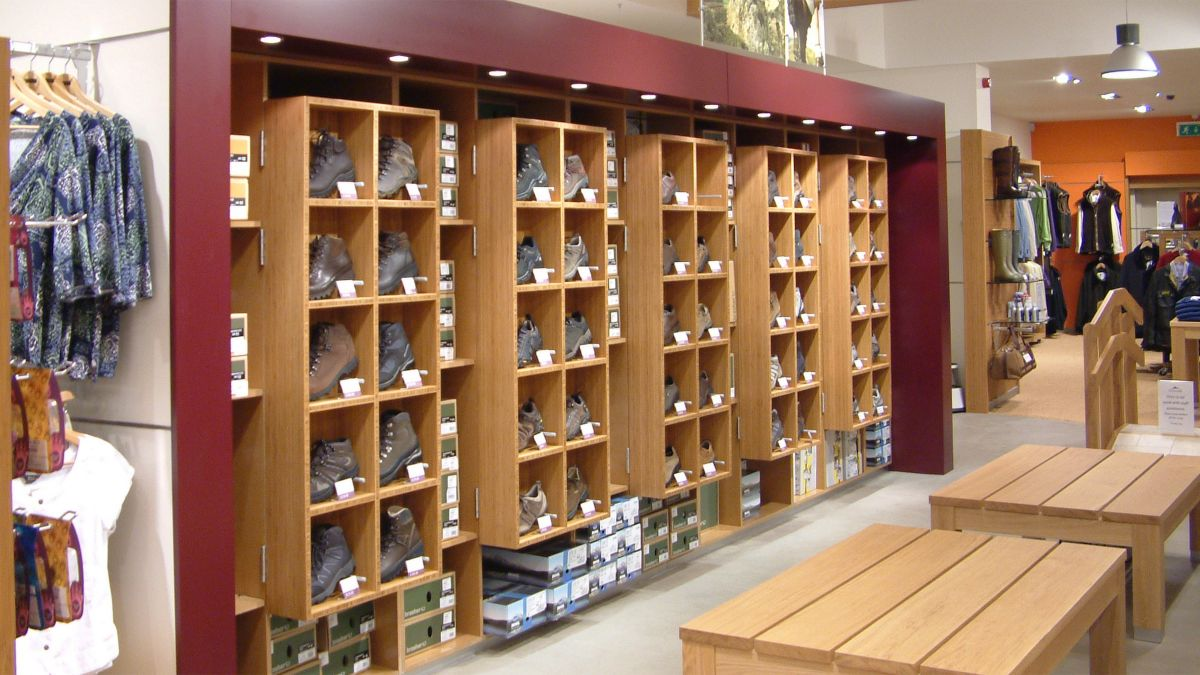 walking shop boot display wooden pigeon holes made by Aspen Concepts