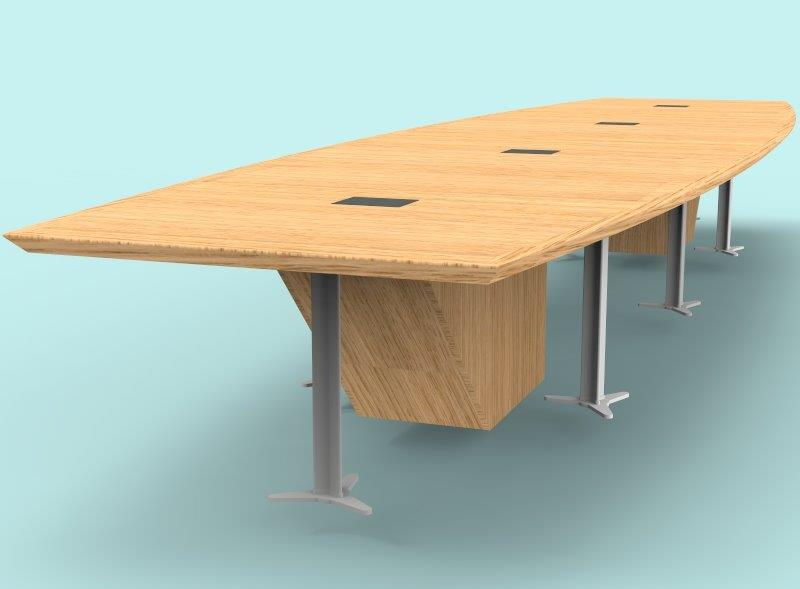 3D render showing design & protoype of a boardroom table manufactured by Aspen Concepts Ltd