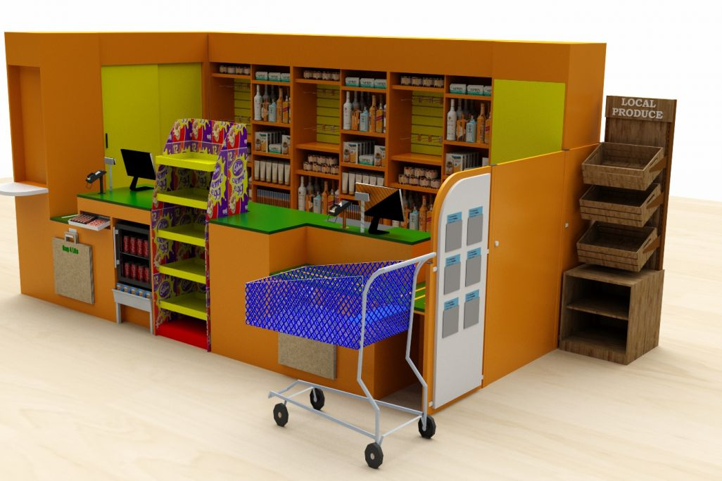 3D render of a convenience store counter