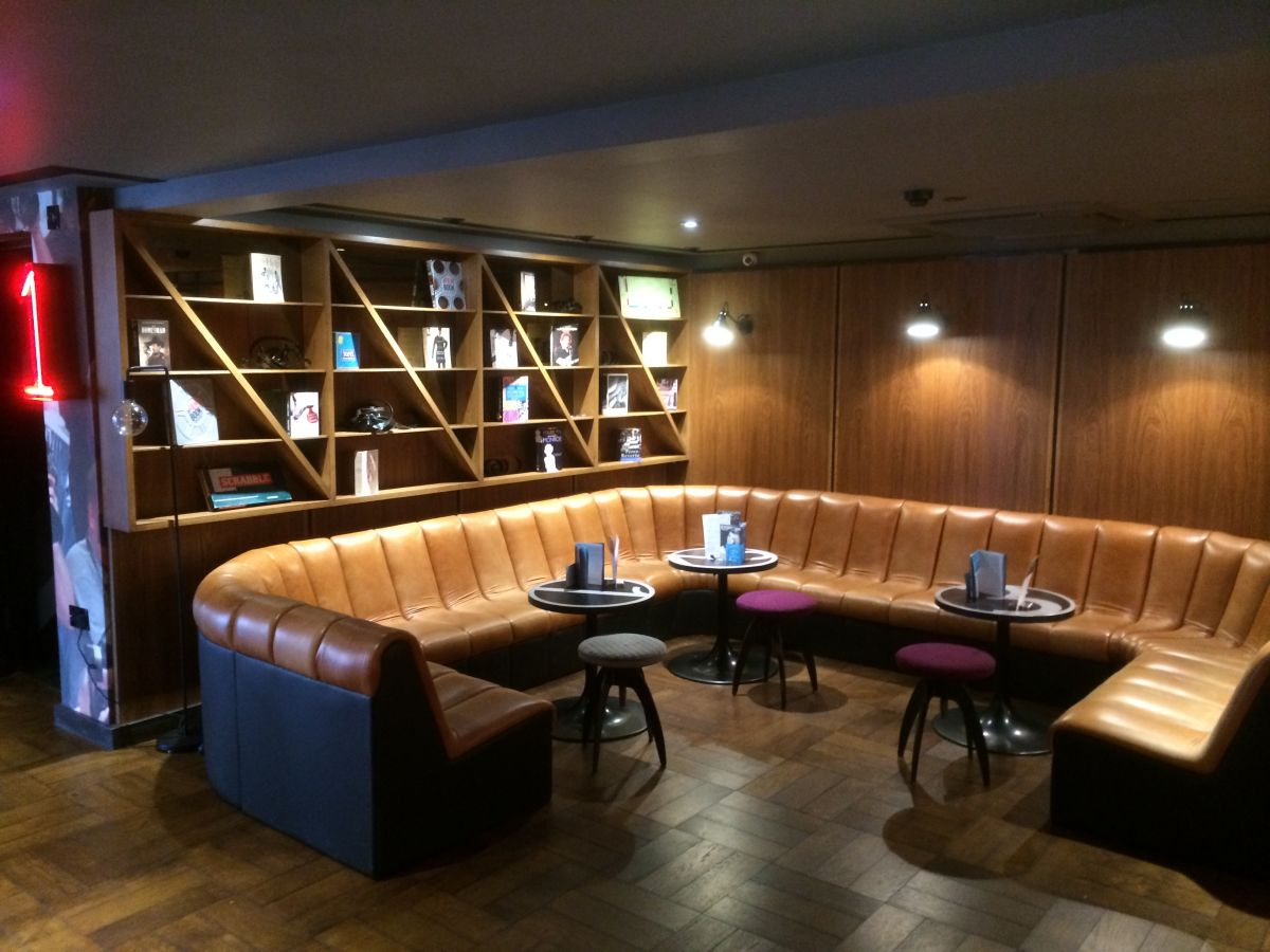 shelving and banquette seating