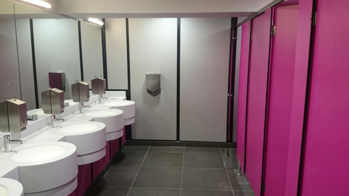 vanity units and toilet cubicles in pink