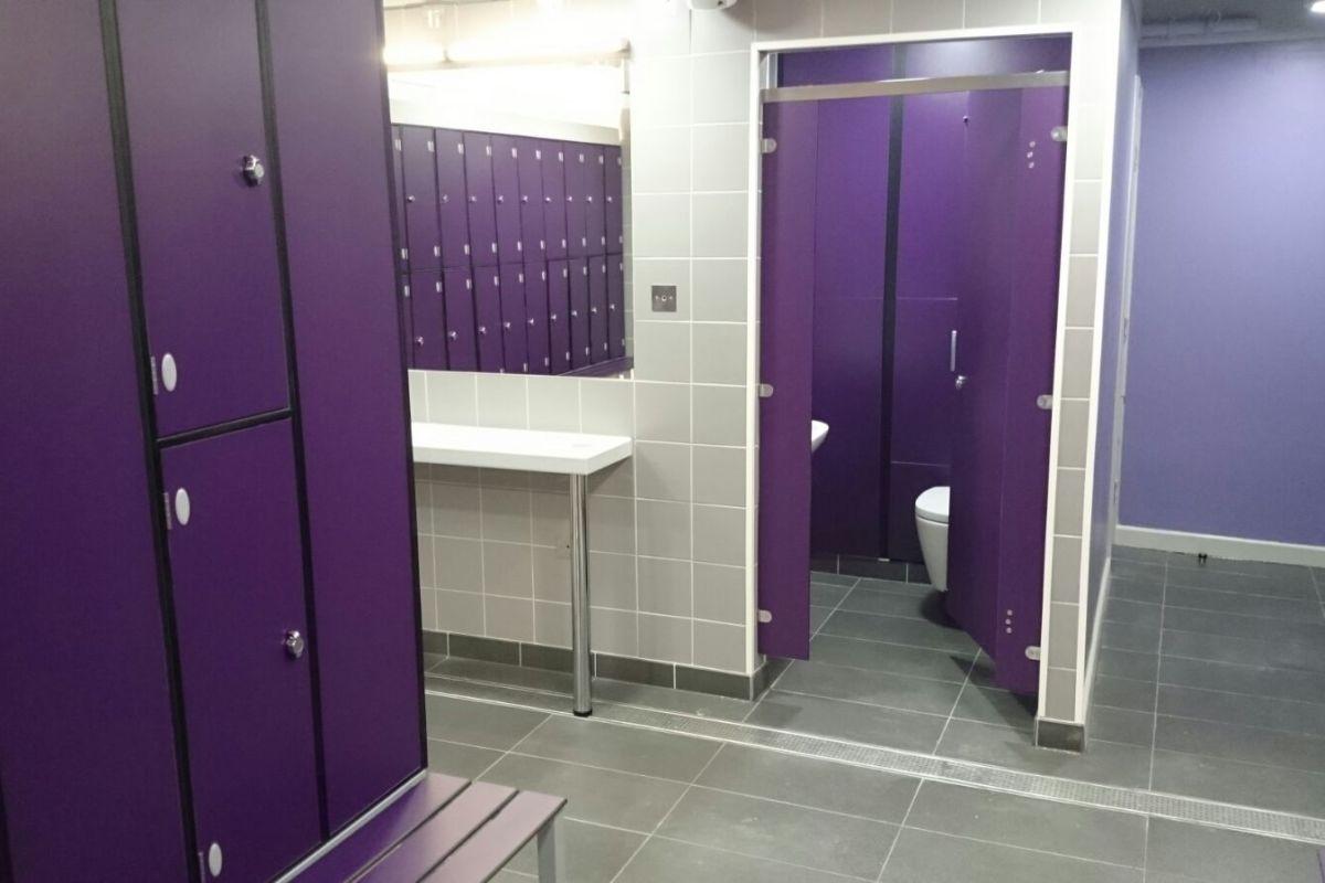 toilet cubicle door in purple