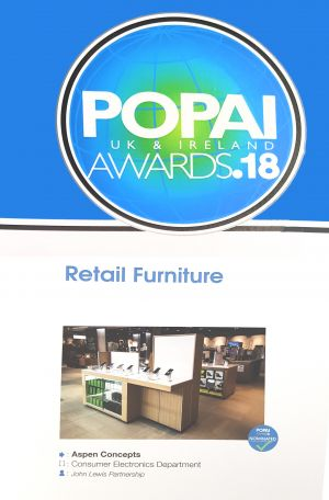 POPAI Award nomination for Aspen Concepts ltd - Retail Furniture - John Lewis Oxford Consumer electronics department