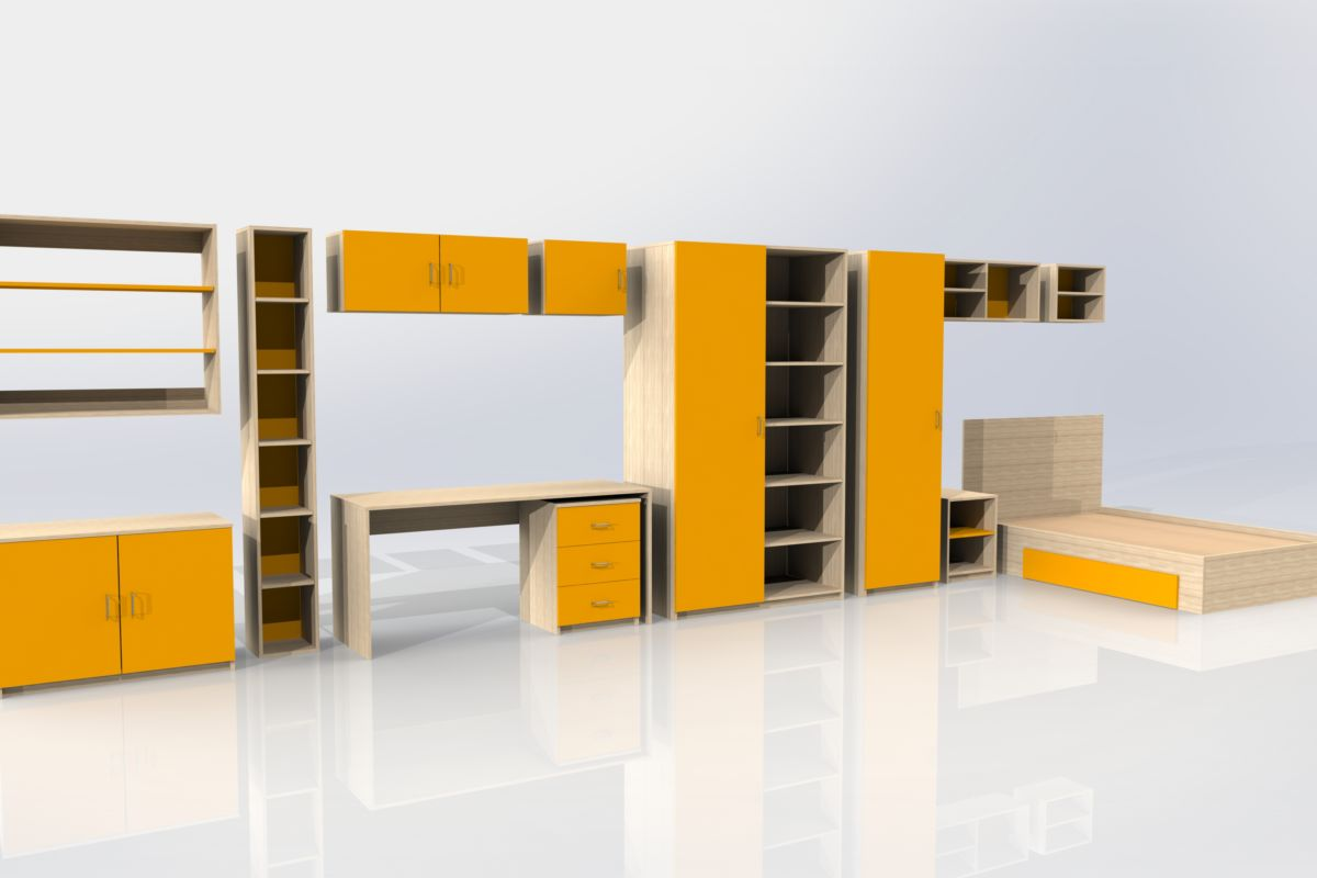 Student accommodation furniture - orange-yellow