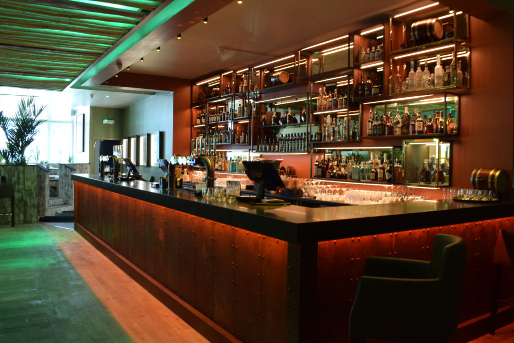 usain bolt Tracks & Records bar restaurant counter manufactured and installed by Aspen Concepts Ltd