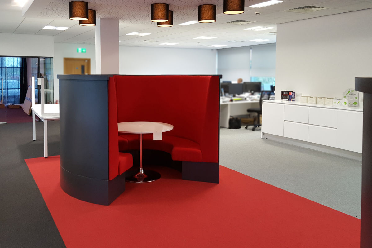 office interior Rocket X Newcastle circular setaing booth