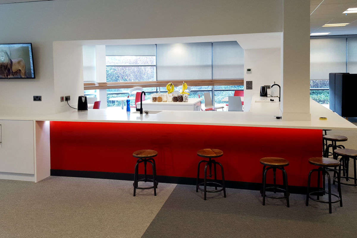 office interior Rocket X Newcastle kitchen area