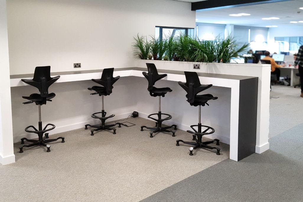 office interior Rocket X Newcastle hot desk perch table