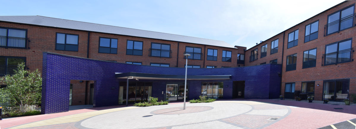 Bromford care home school gardens Stourport - entrance panorama
