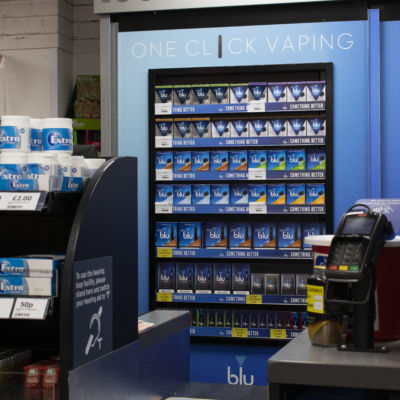 Imperial Tobacco Blu Vaping POS in door close up