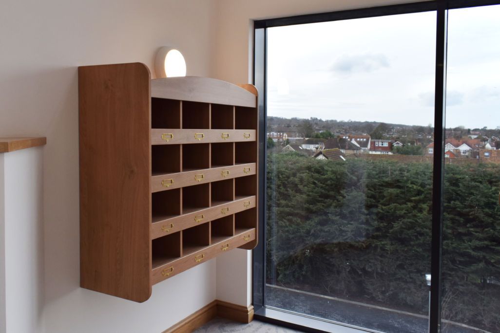 wooden pigeon holes for post