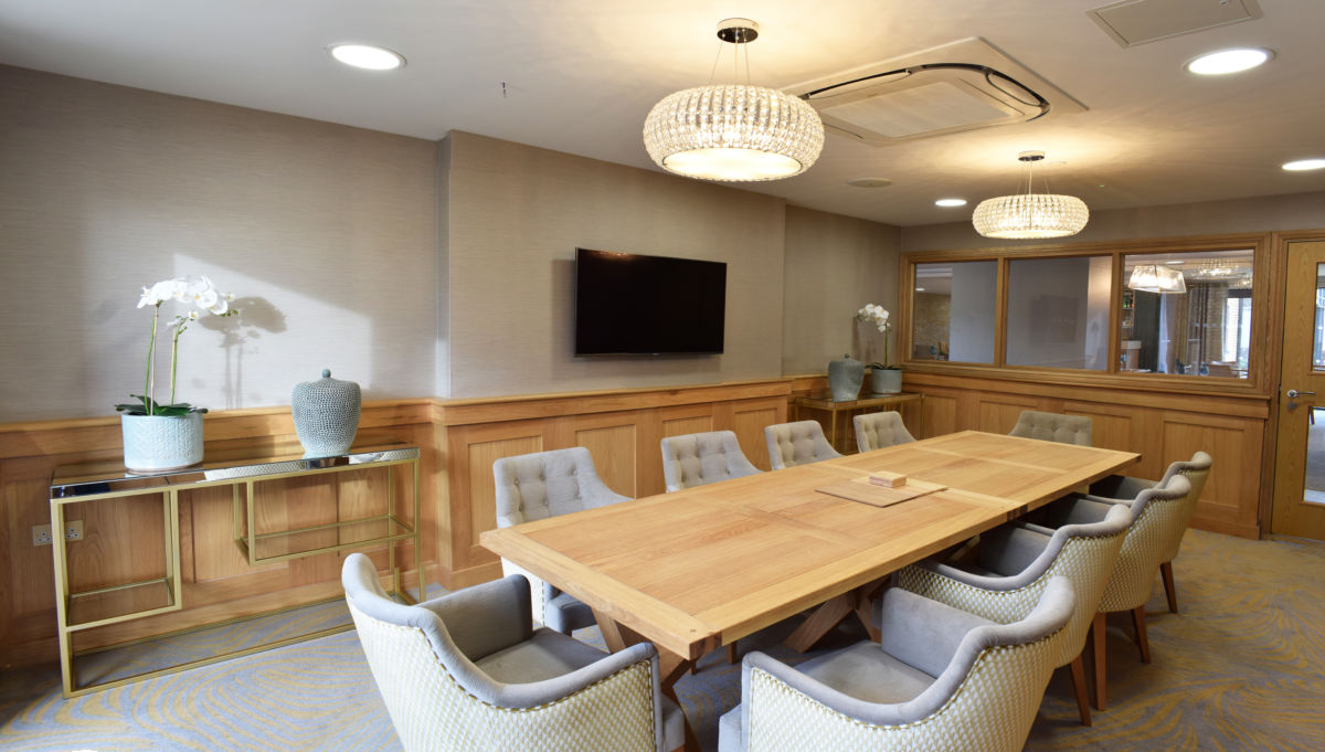 bespoke joinery oak paneling - retirement home dining room