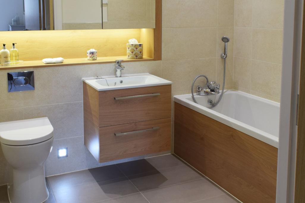 castle view - Windsor - retirement home - residence's bathroom small vanity unit and cupboards
