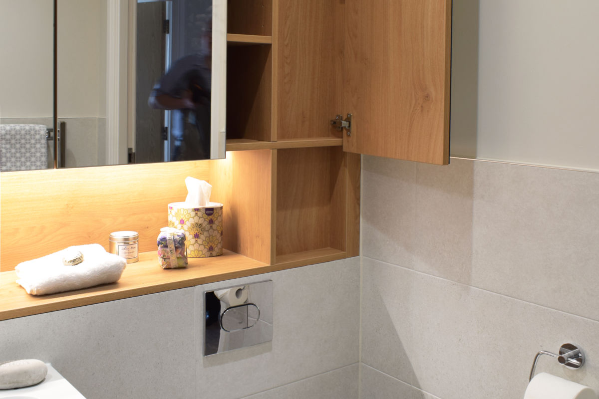 vanity cupboards showing clever boxing in solution