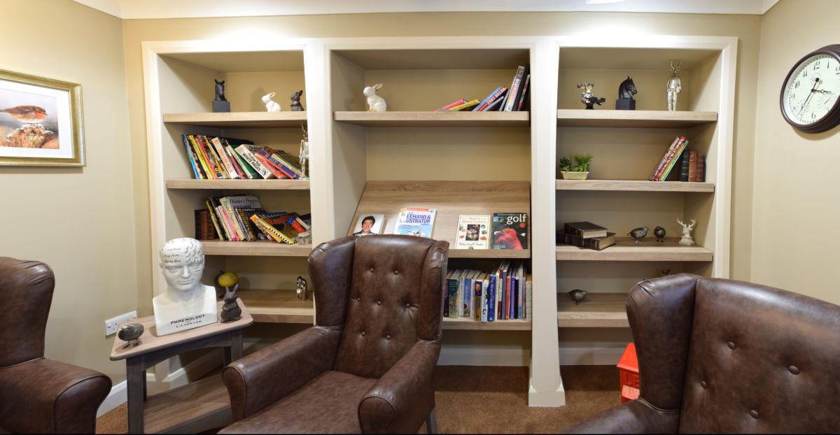 Mountbatten Grange care uk home library shelving