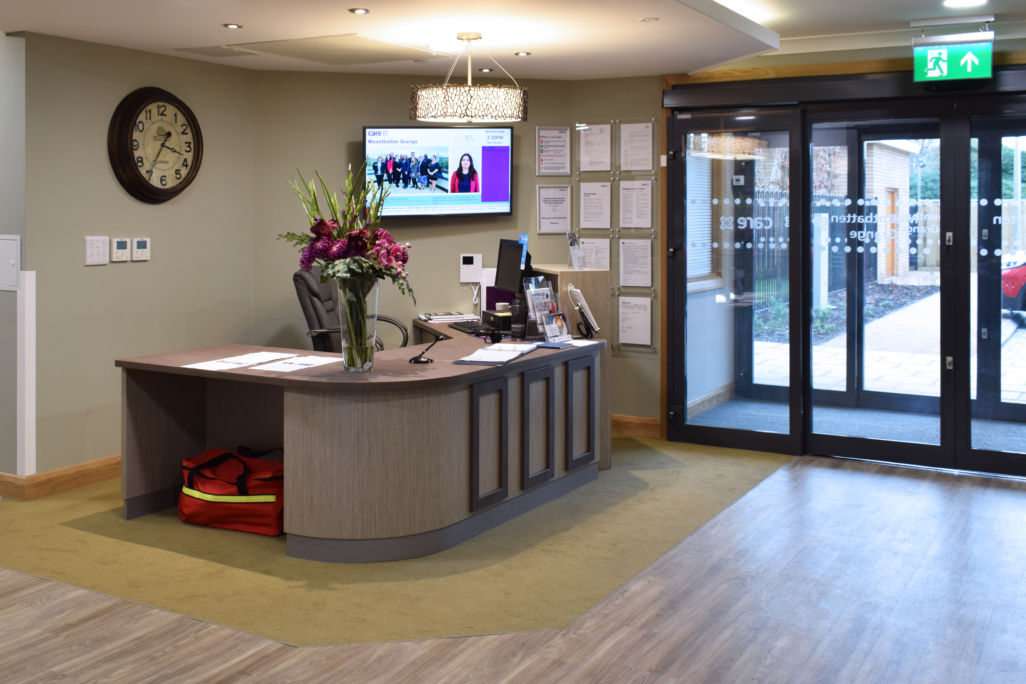 Mountbatten Grange care uk home reception desk