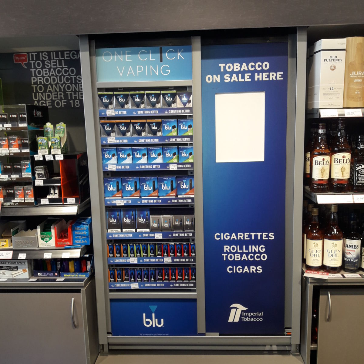 MyBlu vaping POS display installed by Aspen Concepts